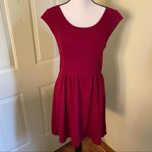 Textured burgundy swing dress with cap sleeves